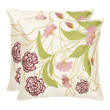 Ruby Floral 2-piece Throw Pillow Set (Pink)