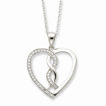 Sterling Silver Hearts Joed Together Necklace