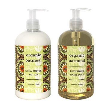 Greenwich Bay Organic Oatmeal Hand & Body Lotion and Organic Oatmeal Hand Soap Duo Set Enriched with Shea Butter 16 oz each by Greenwich Bay Trading Co.