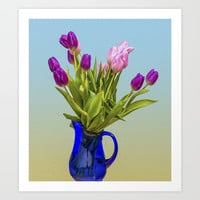 Tulips In A Vase Art Print by Macsnapshot
