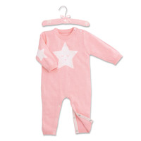 Elegant Baby Star Motif Jumpsuit and Hanger in Pink