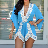 Blue Half Sleeve V-Neck with Lace Accent Romper