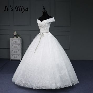 It's YiiYa Hot Wedding Dresses V-Neck Sleeveless Lace Up Romantic Sashes Appliques Flowers Embroidery Lace Wedding Frock IY170