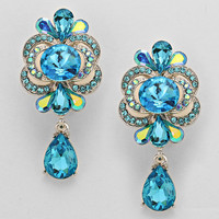 Teardrop Crystal Clip On Earrings Turquoise