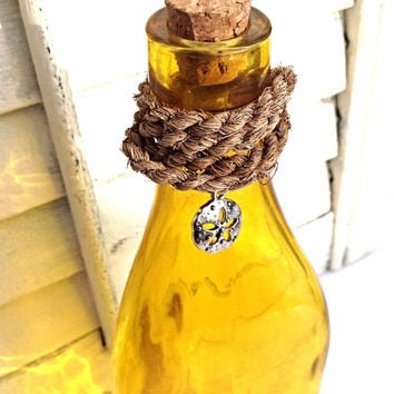 Yellow Beach Bottle-Nautical Bottle-New England Rope Fishing Net-Sand doallar-Beach House Decor-Beach Home Decor-Yellow Glass Bottle