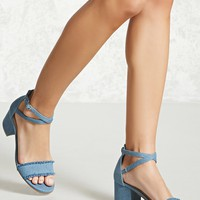 Denim Ankle-Wrap Heels