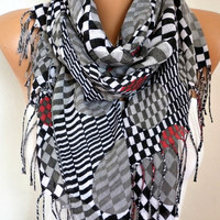 Spring Gray Tones Cotton Scarf Shawl Summer Cowl Oversized Wrap Gift Ideas For Her Women Fashion Accessories Mother Day Gift Women Scarves