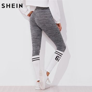 SHEIN Varsity Print Space Dye Leggings Color Block Leggings Active Wear Women's Grey Workout Clothes for Women