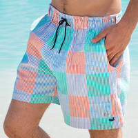 The Dockside Swim Trunk - Seersucker Patchwork