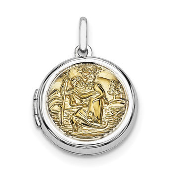 Sterling Silver Rhodium-plated w/Gold-plate Round St. Christopher's Locket QLS590