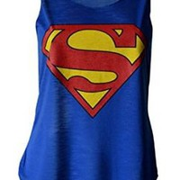 MyMixTrendz - Womens Superman Superhero Print Vest Tank Top (US 4-6)