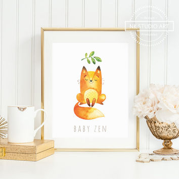 Woodland Nursery Decor | Childrens Wall Art | Baby Fox | Baby Zen