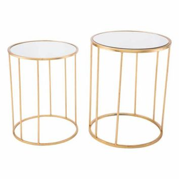 Finita Round Mirrored Nesting Tables Gold (Set Of 2)