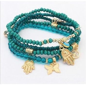 Green Multilayer Beaded Bracelet