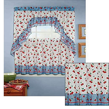 """Country Cherries 3 Piece Kitchen Curtain Set With Ruffled Swag and 24""""L Tiers"""