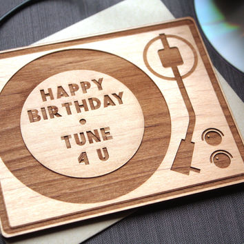 Retro Birthday Wood Card - DJ Birthday Card - Personalized Card - Unique Greeting Card