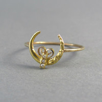 VICTORIAN gold and pearl moon stick pin conversion ring, stacking ring, engagement ring, promise ring, statement ring, Sailor Moon ring.