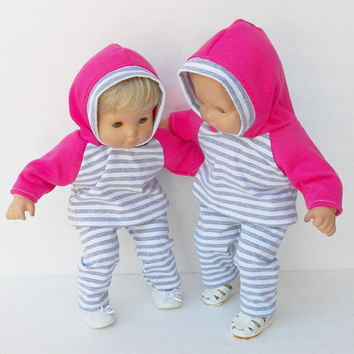 bitty baby clothes- 1 outfit-  twin girls- grey white pink, stripe, hoodie leggings pants, 2pc,handmade adorabledolldesigns