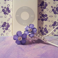 Cute Purple frosted petal flower earbuds with swarovski crystals