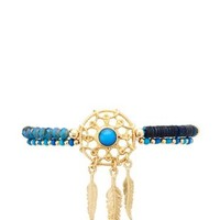 Cobalt Beaded Dreamcatcher Charm Bracelet by Charlotte Russe
