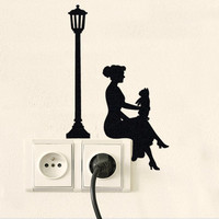 Woman Silhouette Velvet Decal - Girl With French Bulldog Wall Sticker - Teenage Girl Room Decor - Lamp Decal