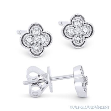 0.28 ct Round Brilliant Cut Diamond Pave Flower Stud Earrings in 14k White Gold