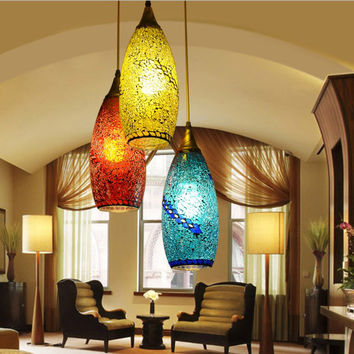 Bohemian Style Glass Lampshade Mediterranean Corridor For Bedroom Pendant Lamp A262