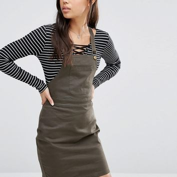 Boohoo Twill Pinafore Dress at asos.com