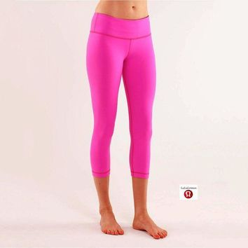 DCCKNQ2 Lululemon Wunder Under Crop Women Sport Leggings Pants Trousers-4