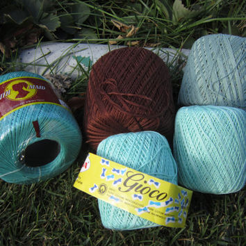 Destash Cotton Crochet Thread, Cotton Yarn for Crafting and Knitting