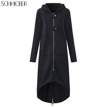 SCHMICKER Female Hooded Sweatshirt Zipper Up Slit Back Long Sleeve Loose Solid Asymmetrical Women Fleece Hoodies Coats