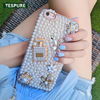 YESPURE 360 Protect Case for Iphone 7 Plus Mobile Phone Shell Pearl Diamond Perfume Bottle 3d Silicone Phone Case Accessories