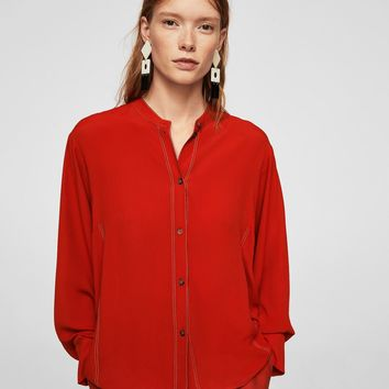 Contrast seam blouse - Women | MANGO USA