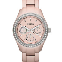 Fossil ES2975 Women's Stella Quartz Rose Gold Tone Aluminum Crystal Watch