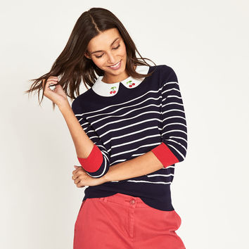 CHERRY COLLAR STRIPE KNIT