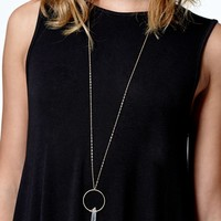 LA Hearts Faux Crystal Circle Long Necklace - Womens Jewelry - Gold - One