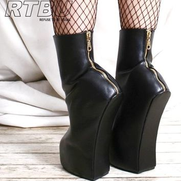 EXTREME Handmade Heeless Horse Hoof Sole Fetish Ankle Bootie Boot Zipper 36-46