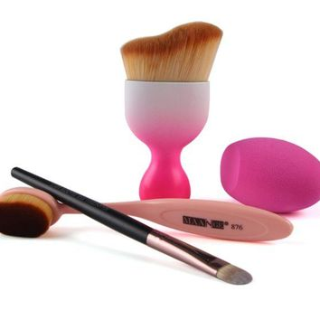 DCCKUNT Pink Makeup Brush Set With Blending Sponge