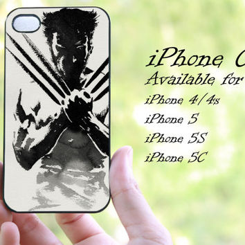 wolverine on x-man design iphone case for iphone 4 case, iphone 4s case, iphone 5 case, iphone 5s case, iphone 5c case