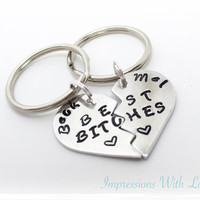 Best bitches split heart personalised keyring set