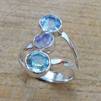 Blue Topaz Ring - Designer Amethyst Ring, Three Gemstone Ring, Fine Silver Ring, Handmade Ring, Sterling Silver Ring, Gift Wear Ring