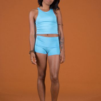 solid turquoise sun shorts