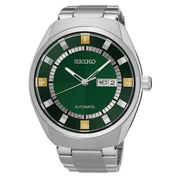 Seiko Mens Recraft Automatic Day/Date Watch - Green Dial - Bracelet