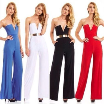 Strapless V-neck Slim Pure Color Flared Long Jumpsuit