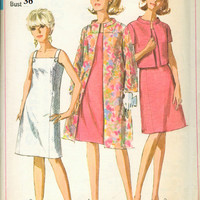 Simplicity 7081 Sewing Pattern 60s Retro Basic A-line Dress Sleeveless Evening Coat Bolero Jacket Jackie O Style Bust 36