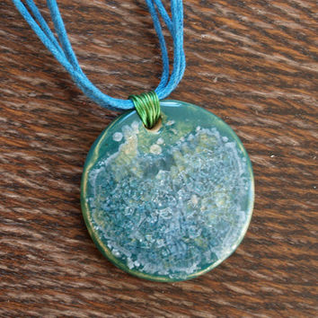 ceramick necklace, glass fill, glass blue and transparent, necklace handmade, glass recycled, unique necklace, perfect for gift