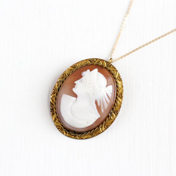 Antique 10k Rosy Yellow Gold Filled Carved Shell Cameo Pendant Necklace - Vintage Edwardian Large Oval Brooch Pin Statement Classic Jewelry