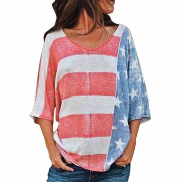 New Arrival American Flags Printed Tops Casual Ladies Three Quarter Sleeve O-neck Loose Style Tops Plus Size Woman Summer Tees