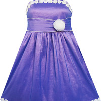 Girls Dress Purple Shinning Tank White Flower Trimmed Party Size 4-8 Years
