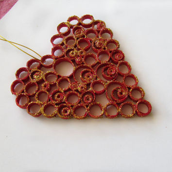 Red Heart Quilling, Quilling Love Heart Ornament, Quilled Heart, Valentin's Day Quilling